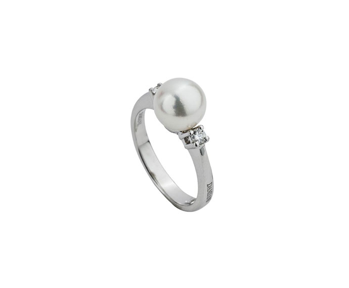 Damiani - White gold ring with pearl and diamonds