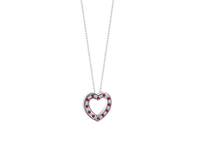 Damiani - White gold with diamonds and rubies heart necklace