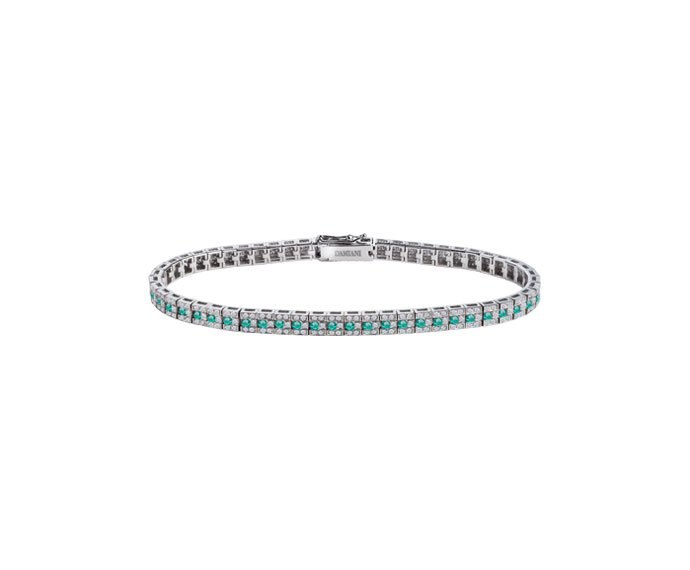 Damiani - White gold with diamonds and emeralds bracelet