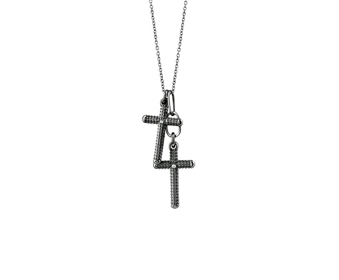 DAMIANI - Black gold and diamonds cross necklace
