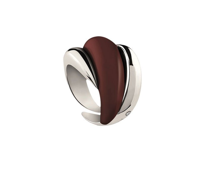 Damiani - Silver and diamond ring with red enamel – Limited Edition Online