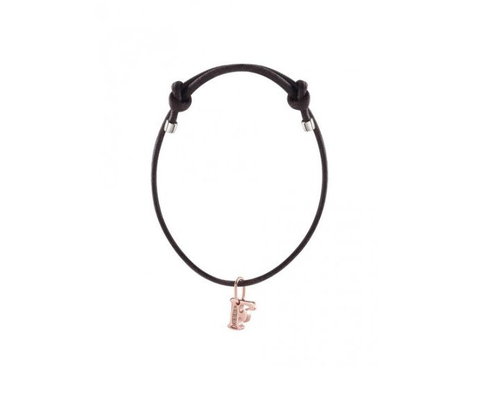 DAMIANI - Bracelet with pink gold charm, letter F