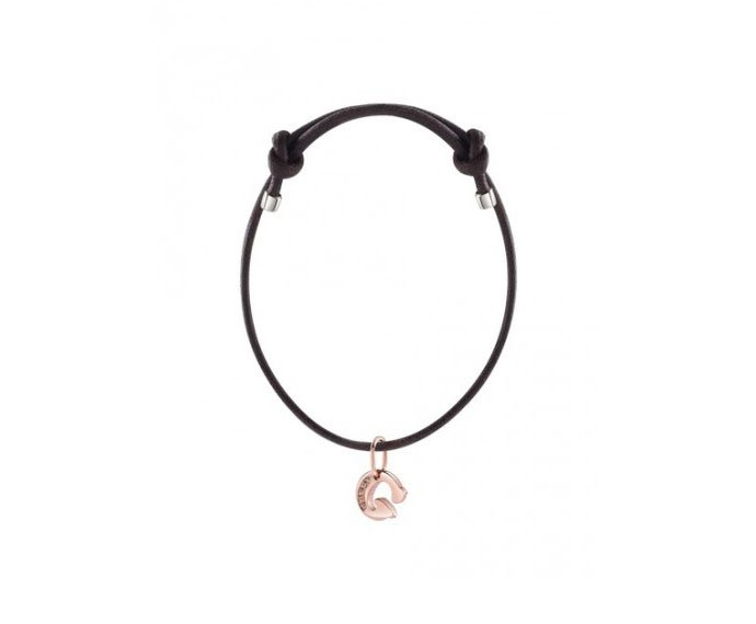 - Bracelet with pink gold charm, letter G