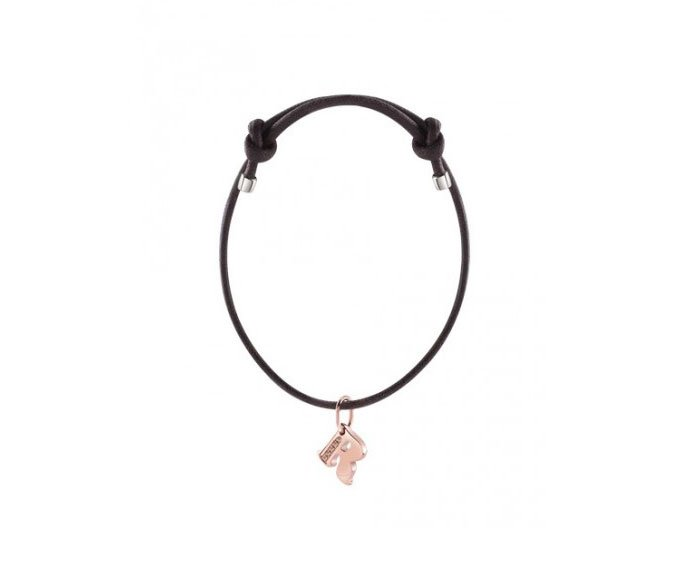 DAMIANI - Bracelet with pink gold charm, letter R