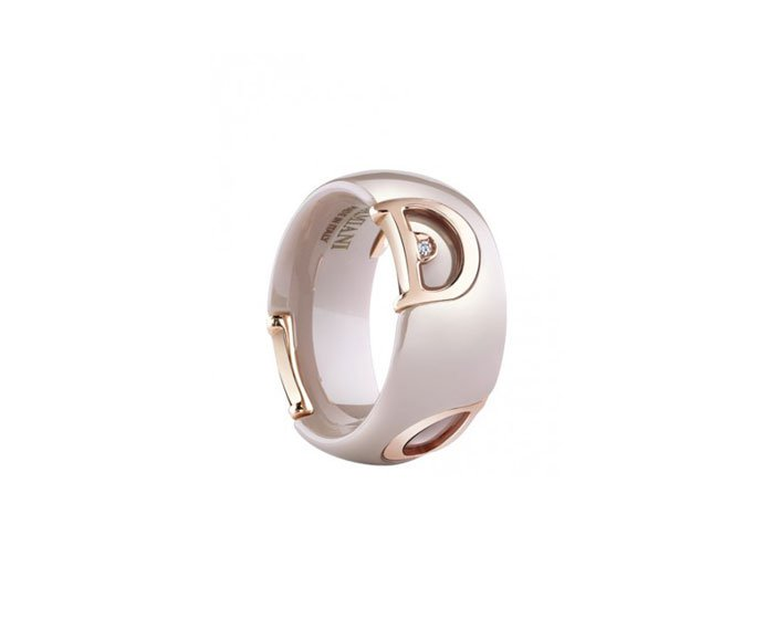 Damiani - Cappuccino ceramic and pink gold with diamond ring