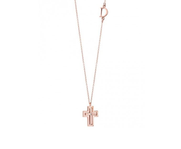 DAMIANI - Pink gold necklace with diamond