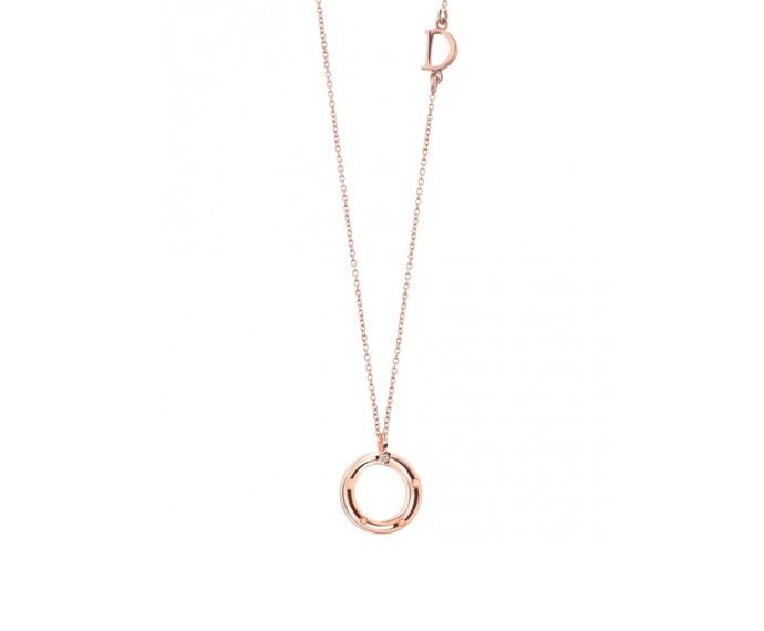 DAMIANI - Pink gold with diamond necklace
