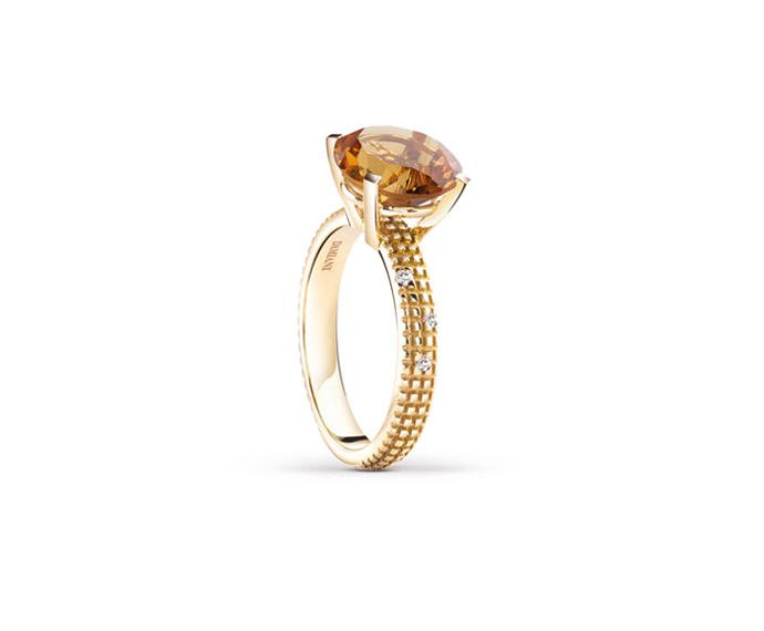 Damiani - Yellow gold and diamonds ring with citrine quartz
