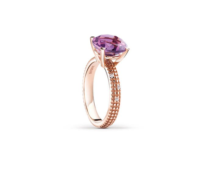 Damiani - Pink gold and diamonds ring with amethyst