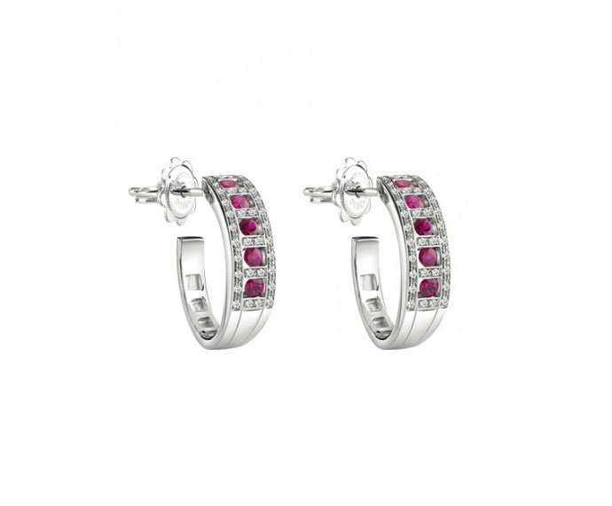 Damiani - White gold and diamonds with rubies earrings