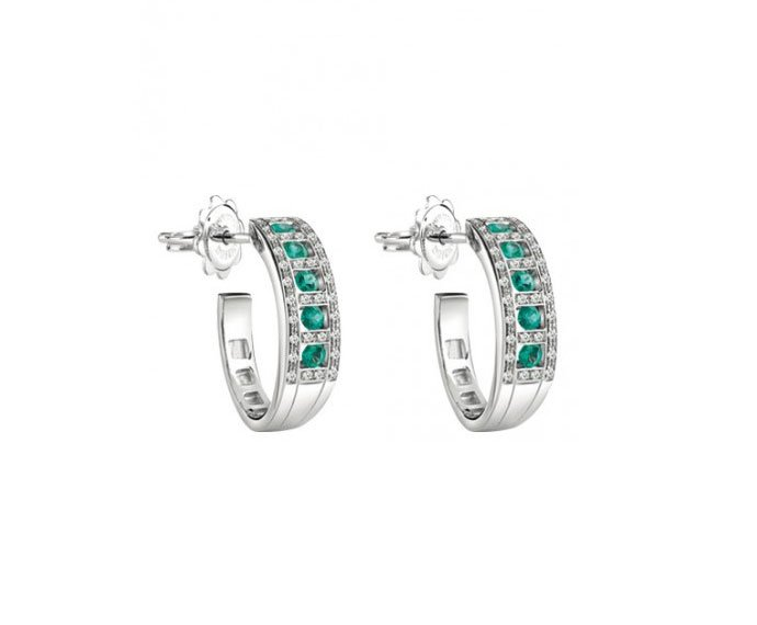 Damiani - White gold and diamonds with emeralds earrings