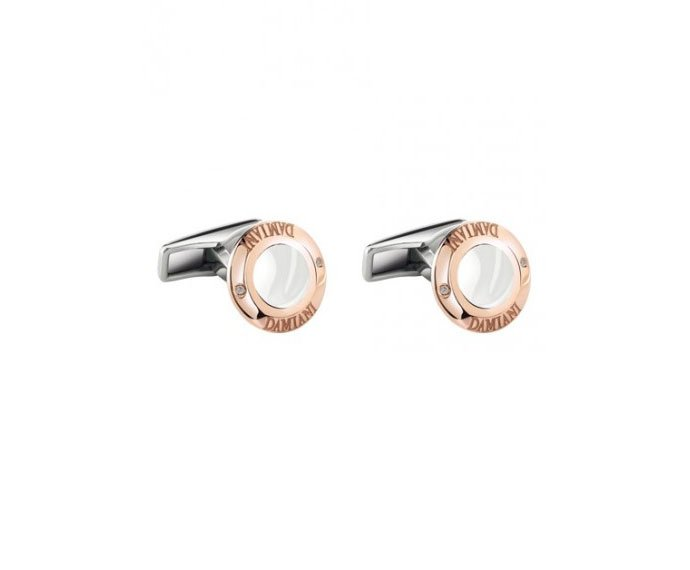 Damiani - Pink gold and steel with white ceramic cufflinks
