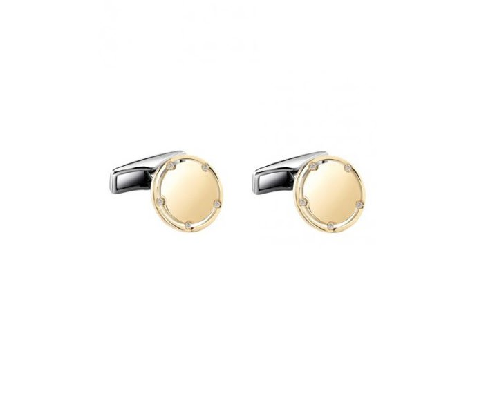 Damiani - Yellow gold and steel cufflinks