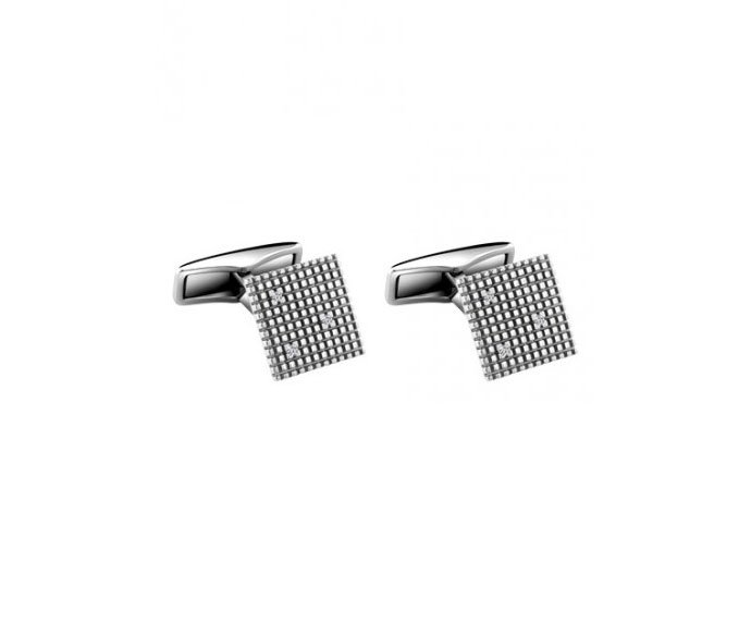 DAMIANI - White gold and steel with diamonds cufflinks