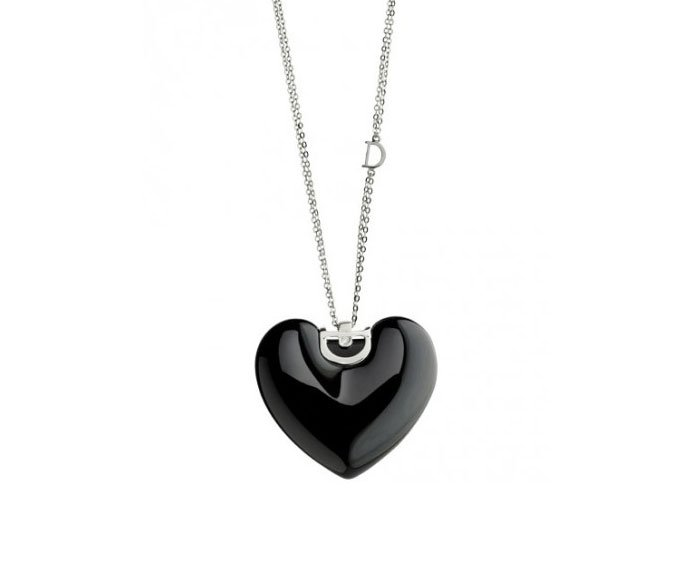 Damiani - Black ceramic and white gold with diamond heart necklace