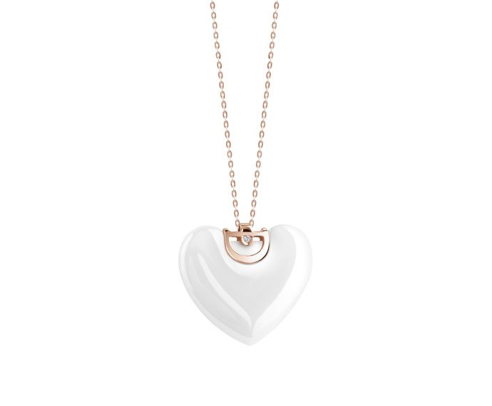 DAMIANI - White ceramic and pink gold with diamond heart necklace