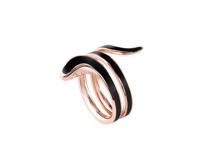 DAMIANI - Pink gold and black ceramic ring