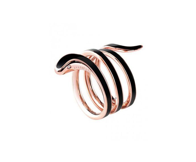 - Pink gold and black ceramic ring