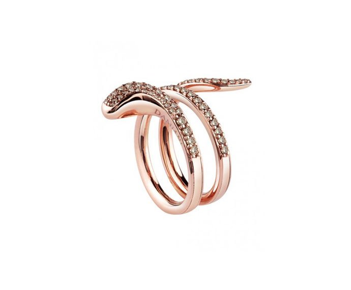 Damiani - Anello in oro rosa con diamanti brown