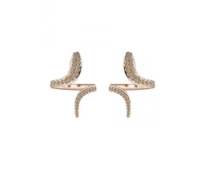 Damiani - Pink gold and brown diamonds earrings