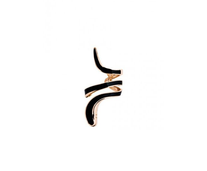 Damiani - Pink gold and black ceramic left mono earring