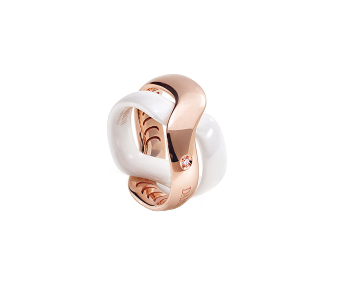 DAMIANI - White ceramic and pink gold ring with diamond