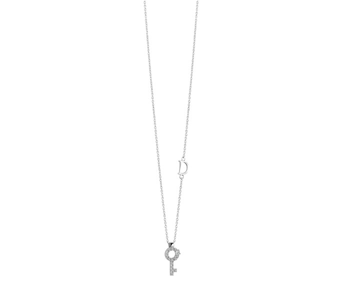 DAMIANI - White gold and diamonds key pendant
