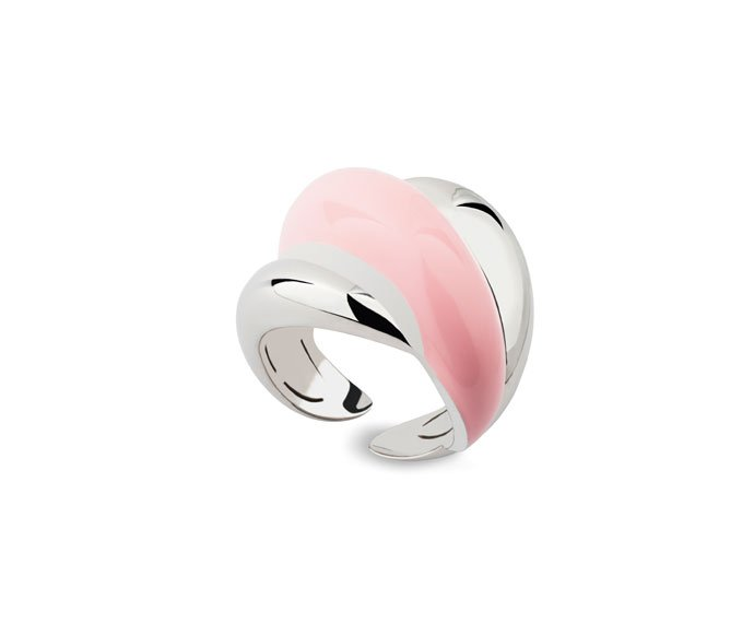 DAMIANI - Silver and diamond ring with pink enamel