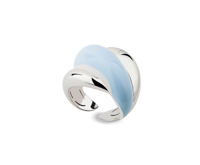 Damiani - Silver and diamond ring with light blue enamel