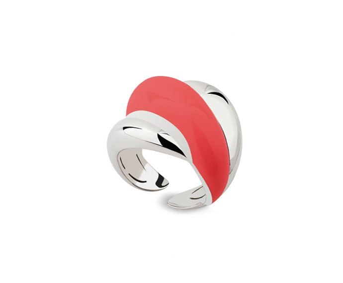 Damiani - Silver and diamond ring with coral enamel