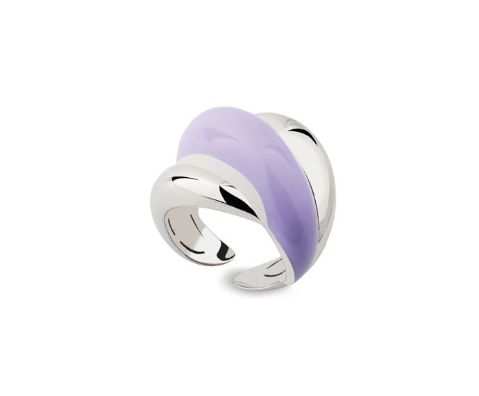 DAMIANI - Anello in argento e diamante con smalto viola