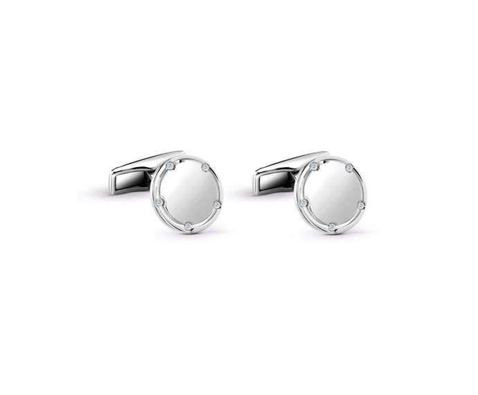 Damiani - White gold, steel with diamonds cufflinks