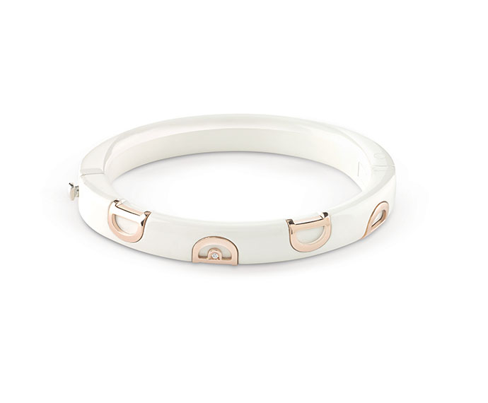- White ceramic and pink gold bracelet with diamond