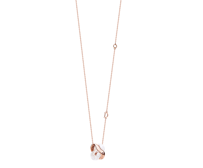 - White ceramic and pink gold necklace with diamond