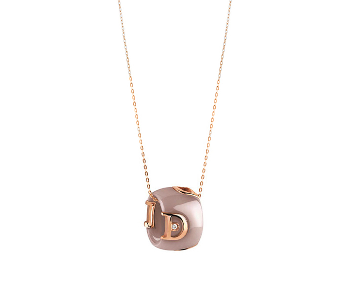 DAMIANI - Cappuccino ceramic, pink gold and diamond necklace
