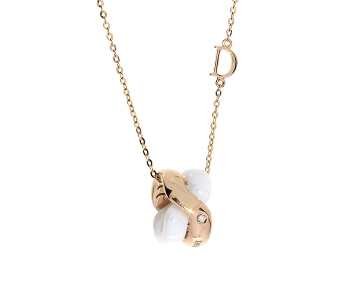 DAMIANI - Necklace in pink gold and white ceramic with diamond