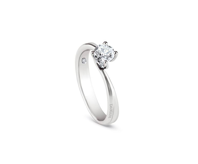 DAMIANI - White gold and diamond engagement ring, 0,15 carats, Colour G, Clarity VS