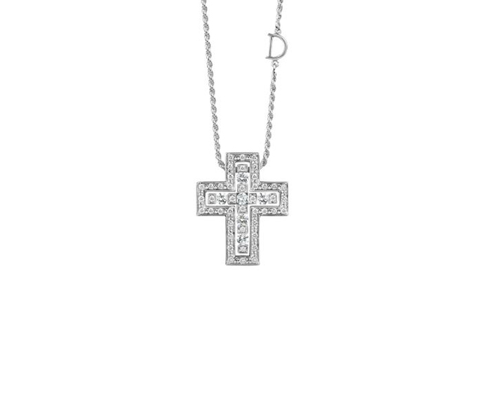 DAMIANI - White gold and diamonds necklace. Cross size: Length 23mm. Width 19mm.