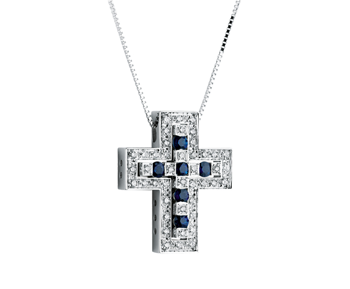 DAMIANI - White gold, diamonds and sapphires necklace. Cross size: Length 23mm. Width 19mm.