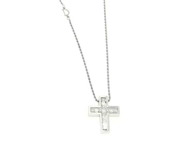 - Necklace cross in white gold with diamonds