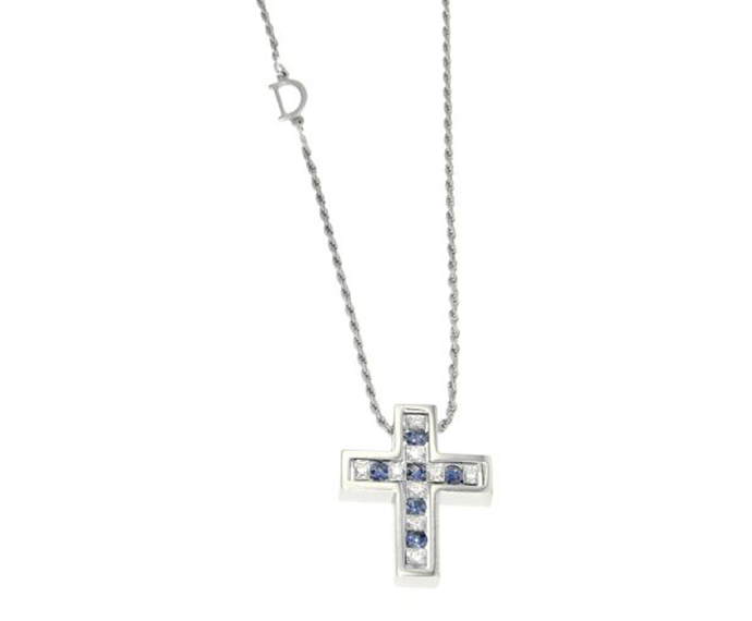 - Necklace cross in white gold with diamonds and sapphires