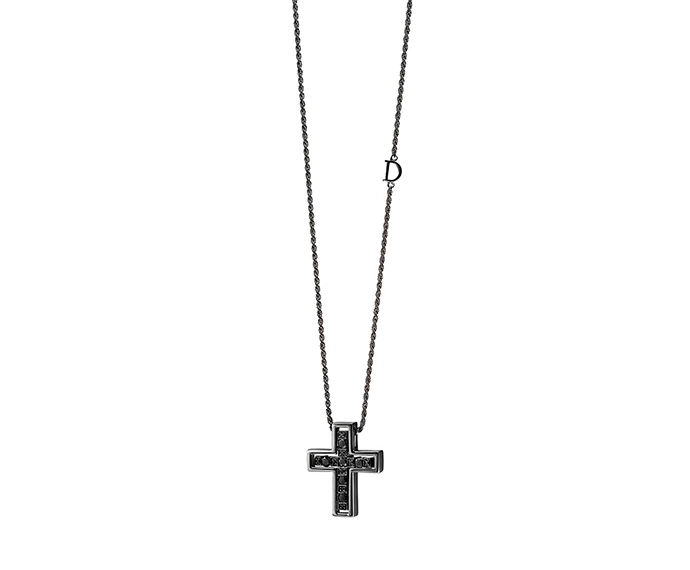 - Necklace cross in brunished gold and black diamond