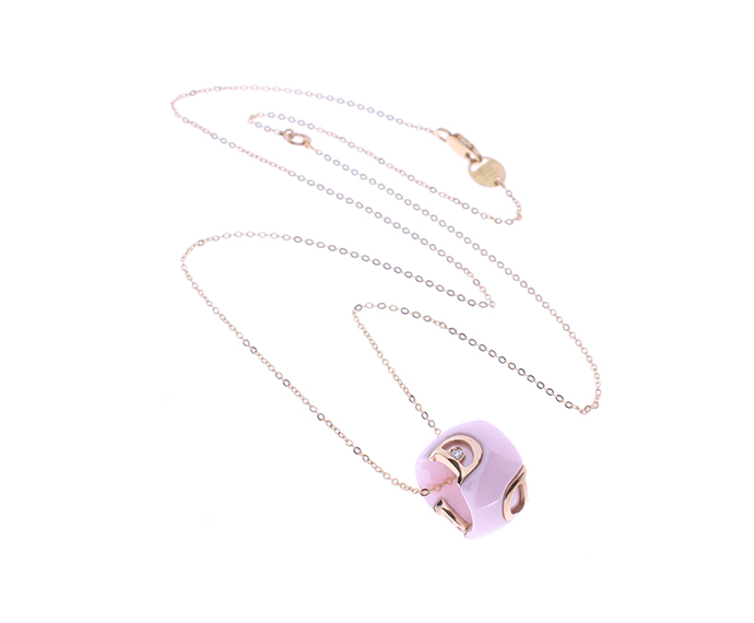 DAMIANI - Pink gold, diamonds and pink confetto ceramic collier