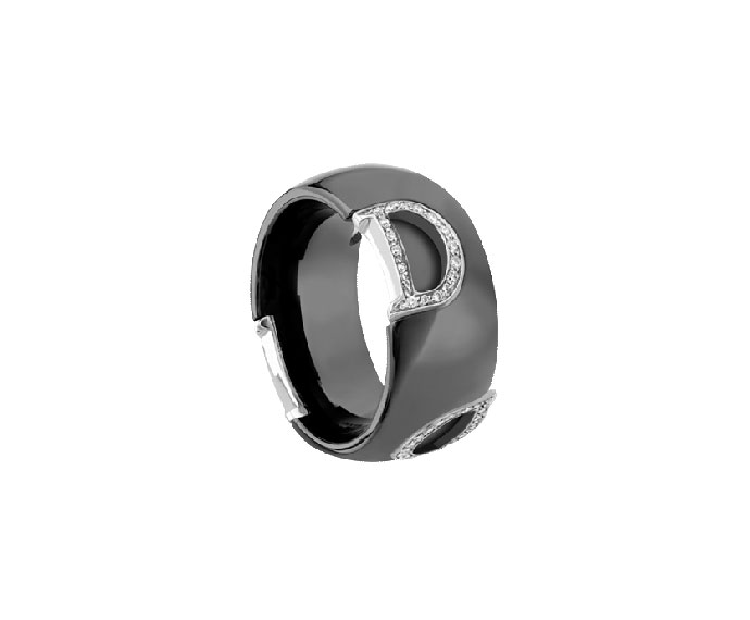 DAMIANI - Black ceramic, white gold and diamonds ring