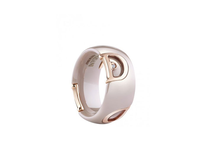 DAMIANI - Cappuccino ceramic, pink gold and diamond ring