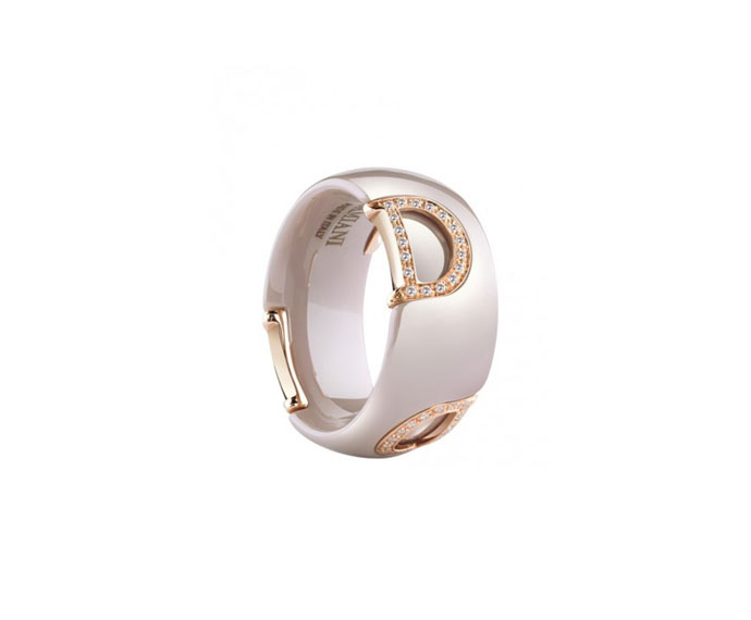 DAMIANI - Cappuccino ceramic, pink gold and diamonds ring