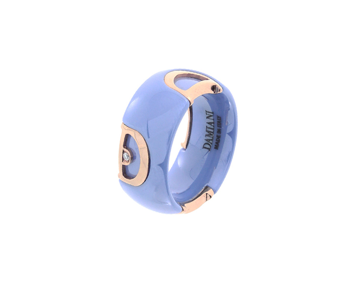 DAMIANI - Powder blue ceramic, white gold and diamond ring