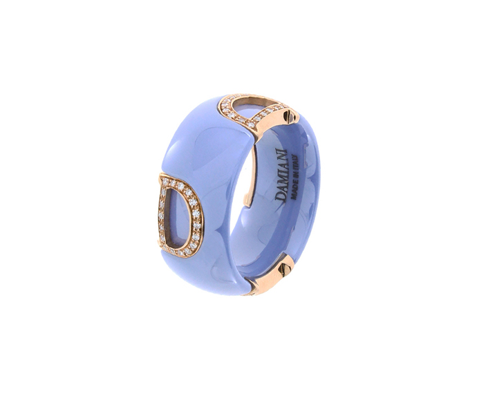 DAMIANI - Powder blue ceramic, white gold and diamonds ring