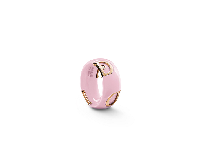 DAMIANI - Candy pink ceramic, pink gold and diamond ring