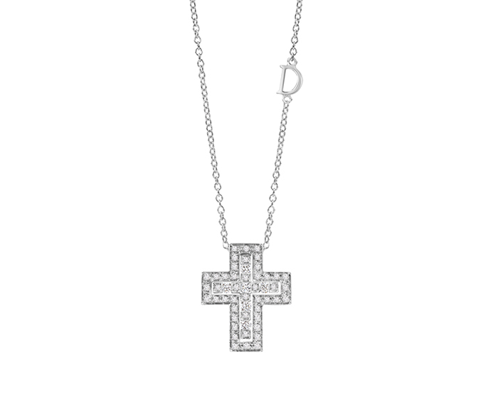 DAMIANI - White gold and diamonds cross necklace